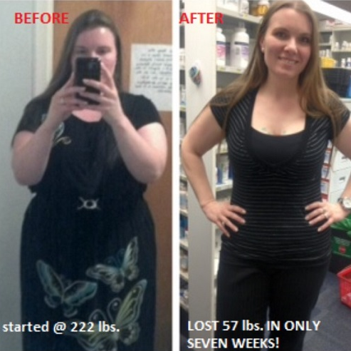 *Started @ 222 lbs, lost 57 lbs in ONLY 7 WEEKS!